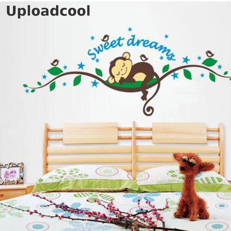 Uploadcool _ sweet dream cartoon monkey wall stickers for kids room home decorations bedroom adesivo de parede decal mural art