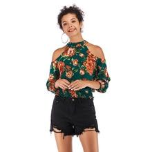 VZFF Spring And Summer Green Printing New Fashion Sexy Elegant Strapless Chiffon Shirt Sleeve Slim Slimming Round Neck Shirt