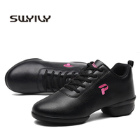 SWYIVY White Sneakers Shoes Dance Woman Wedge Sport Shoes Autumn 2019 New Leather Female Platform Sneakers Fitness Dance Shoe