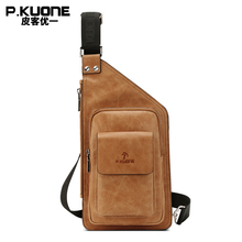 P KUONE Brand Luxury Design Vintage Cow Leather Chest Pack Bag Men Single Shoulder Bags College
