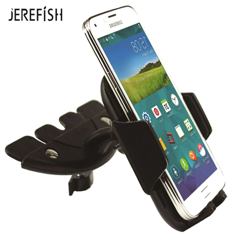 Jerefish Universal Adjustable CD Player Slot Smartphone Car CD Mount Mobile Phone Holder For IPhone Redmi Huawei Xiaomi