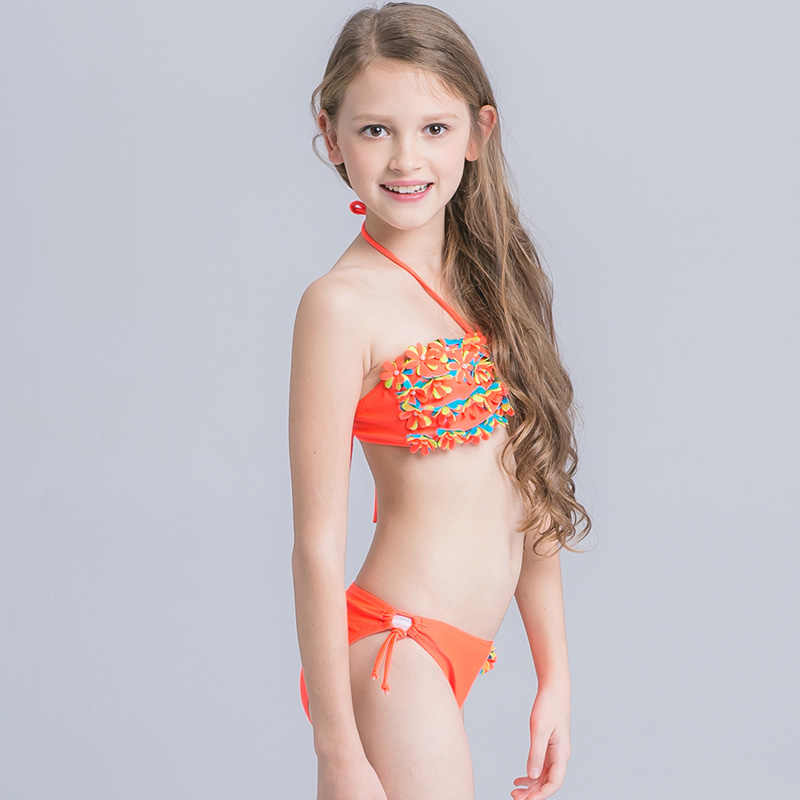 d88d93475 ... 5-16 Years Kids Swimsuit Girls Bikini Set 3D Floral Two Piece Children  Swimwear Teenager ...