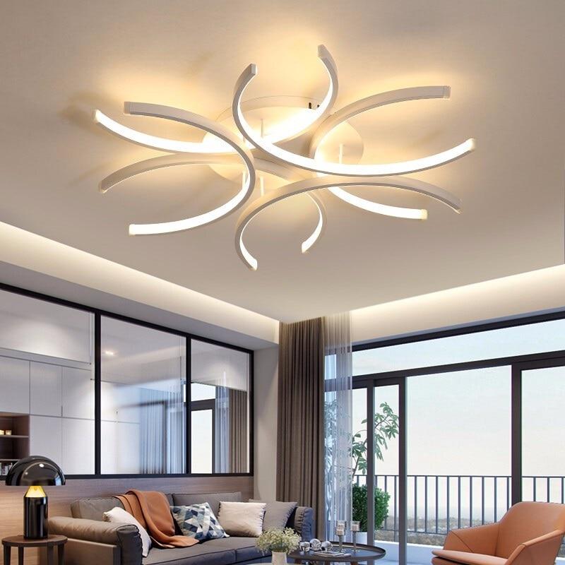 Image 4 - LICAN Aluminum Wave Avize Lustre for Home decor 110V 220V White Chandeliers LED Modern Ceiling Chandelier Lighting-in Chandeliers from Lights & Lighting