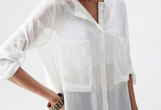 Women Collarless Button front See through Long Sleeve Chiffon ...