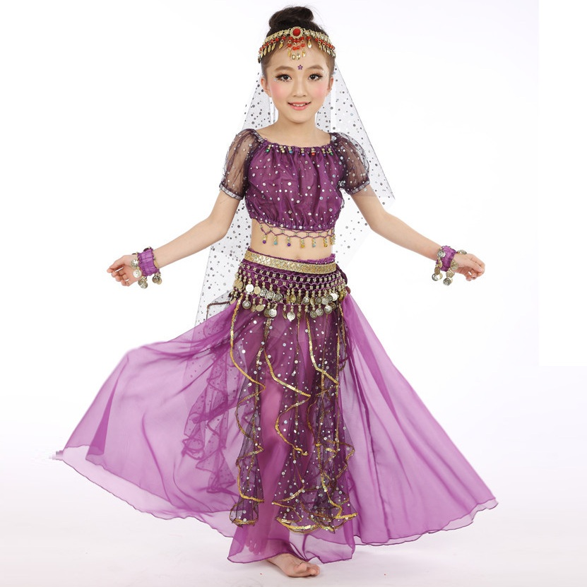 Boys' Clothing Kids Oriental Dance Costumes Girls Dancing Costume Kids Belly Dance Clothes 5pcs Set Girls Indian Clothes H421 Delicious In Taste