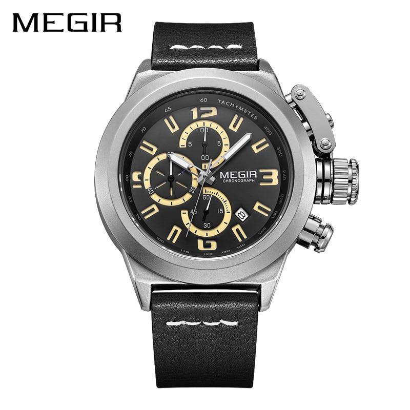 MEGIR Quartz Men Watch Luminous Relogio Masculino Multifunction Wrist Watches Men Clock Chronograph Watches Reloj Hombre mne watch megir megir 6 24 relogio sl 3008