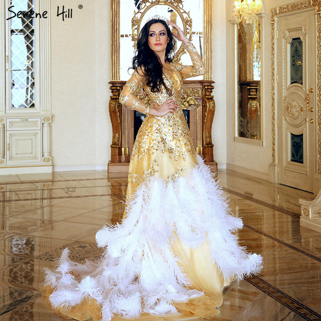 Ostrich Feathers Wedding Dress Photography Gold Ruffles Crystal Long Bride 2018 Dresses Serene Hill