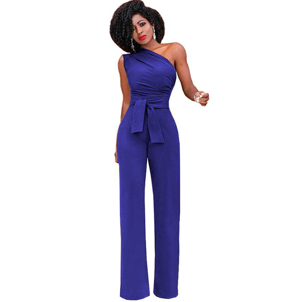 9626f609f42 Anself Jumpsuits Women Romper Overalls Sexy One Shoulder Jumpsuit Rompers  2019 Autumn Female Solid Elegant Body