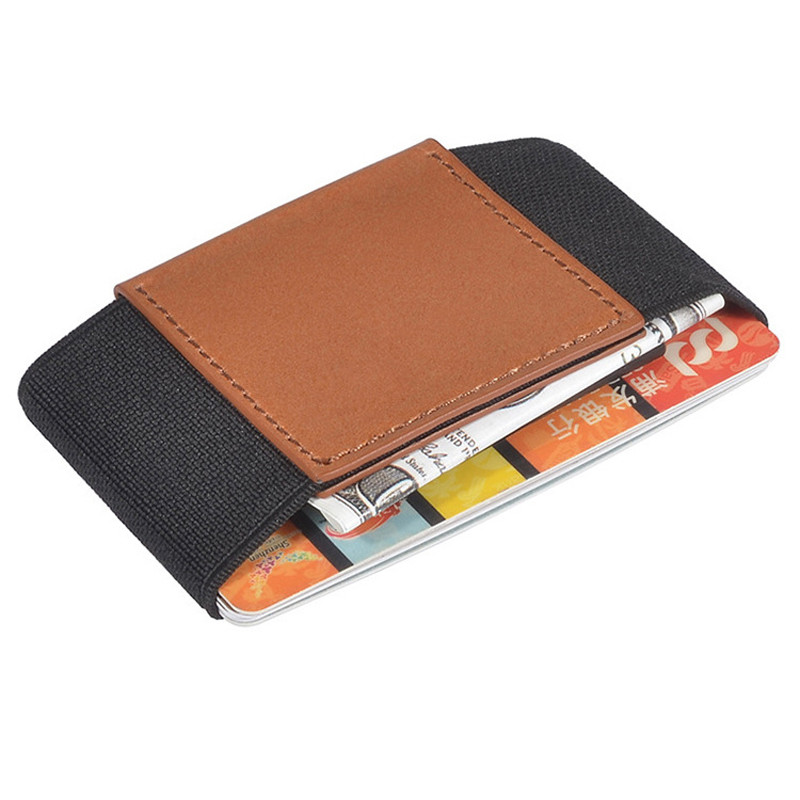 Slim Genuine Leather Wallet With Elastic Front Pocket Card Holders And Cash Business Card holder Purse Magic Id Card Case