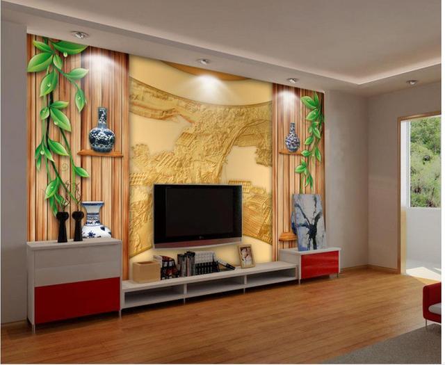3d wall murals wallpaper Green rattan wood wall Creative space TV