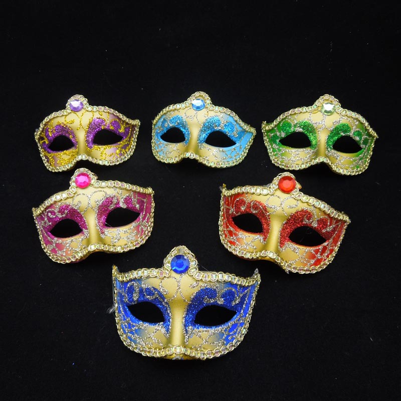 10Painted Cosplay Mini Masquerade Masks Crystal Half Face Venetian Mask Fashion Women Halloween Party - Caly Tao's store