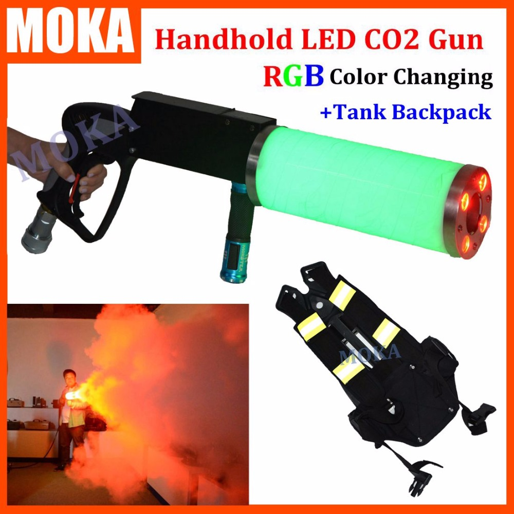 1 Pcs backpack +handhold led co2 gun rgb party led dj stage co2 jet machine blower for led stage light co2 shooter battery tiptop tp t08 big led co2 launcher food class co2 gas led colorful rgb changing anti false triggering insurance 8pcs aa battery