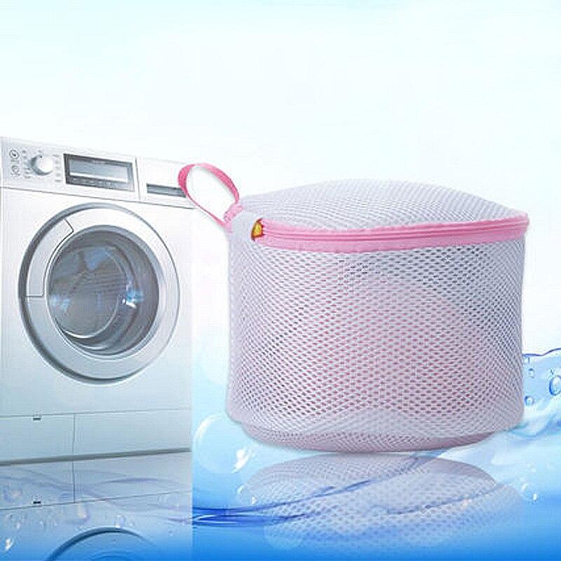 Sale 1PC White Mesh Nylon Zipper Opening Women Underwear Washing Bag