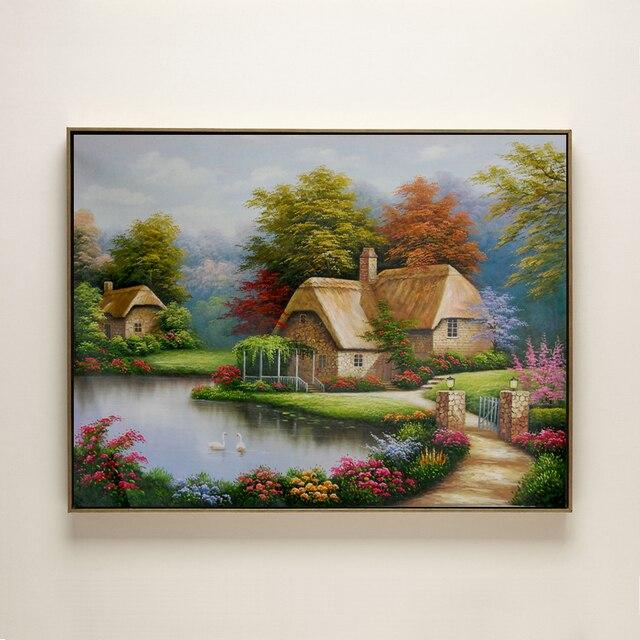 coton la main peinture l 39 huile thomas agriculteur maison canard d 39 eau paysage sans cadre. Black Bedroom Furniture Sets. Home Design Ideas
