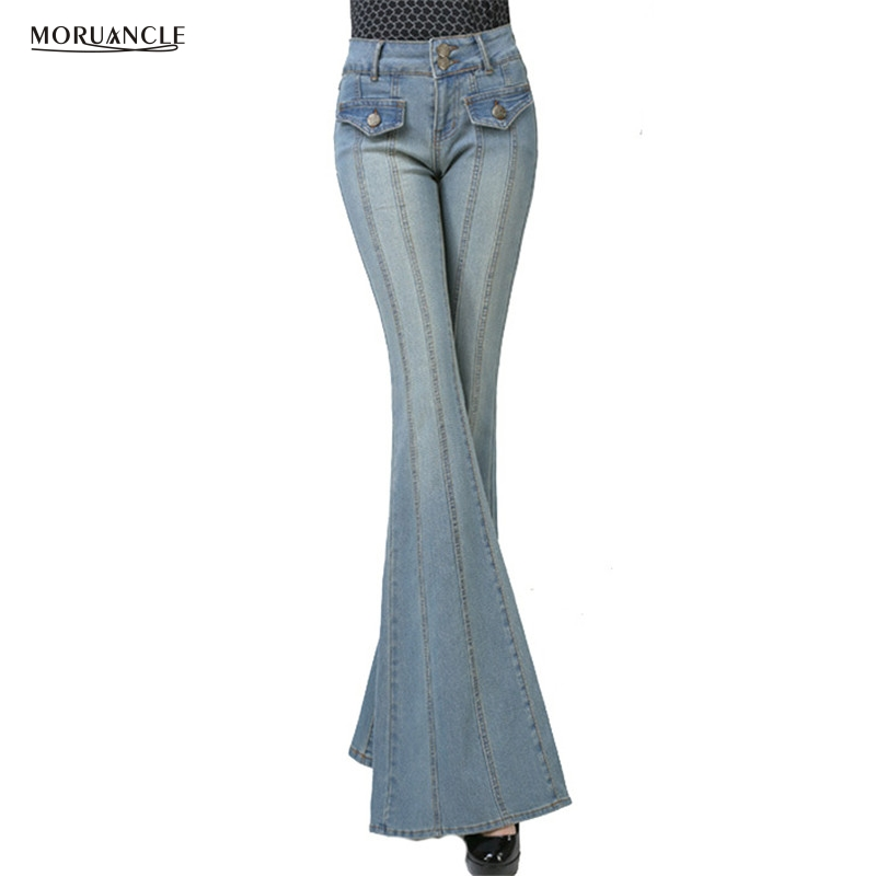 MORUANCLE Fashion Womens Wide Leg   Jeans   Pants Stretchy Flare Denim Trousers For Female Bell Bottom   Jean   Joggers