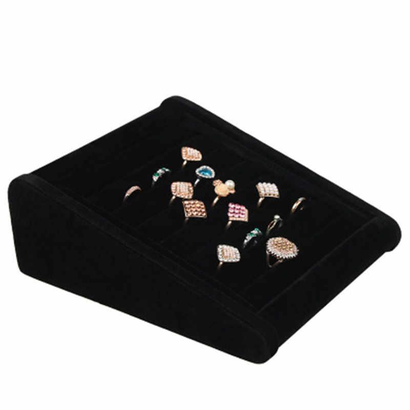 Boucles d'oreilles en velours anneau organisateur clous d'oreilles bijoux présentoir support Rack vitrine plateau 3 couleurs 23cm * 18.5cm * 8.5cm