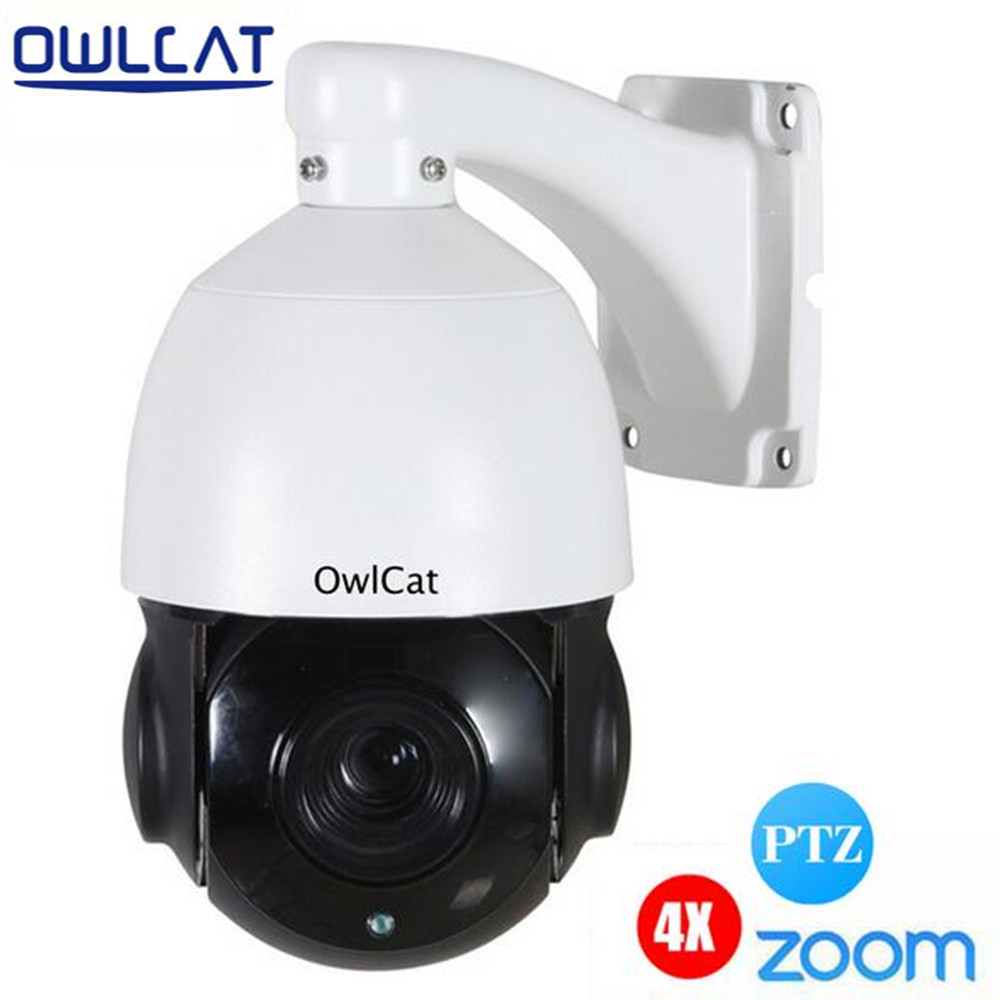 Owlcat HD 960P 1080P Outdoor Weatherproof Mini IR Speed Dome IP Camera PTZ 4XZoom 2.8~12mm CCTV Security Video Camera IR 80-100m 4 in 1 ir high speed dome camera ahd tvi cvi cvbs 1080p output ir night vision 150m ptz dome camera with wiper