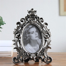 European-style retro 6 inch 7 8 metal texture carved picture resin frame handicraft home decoration