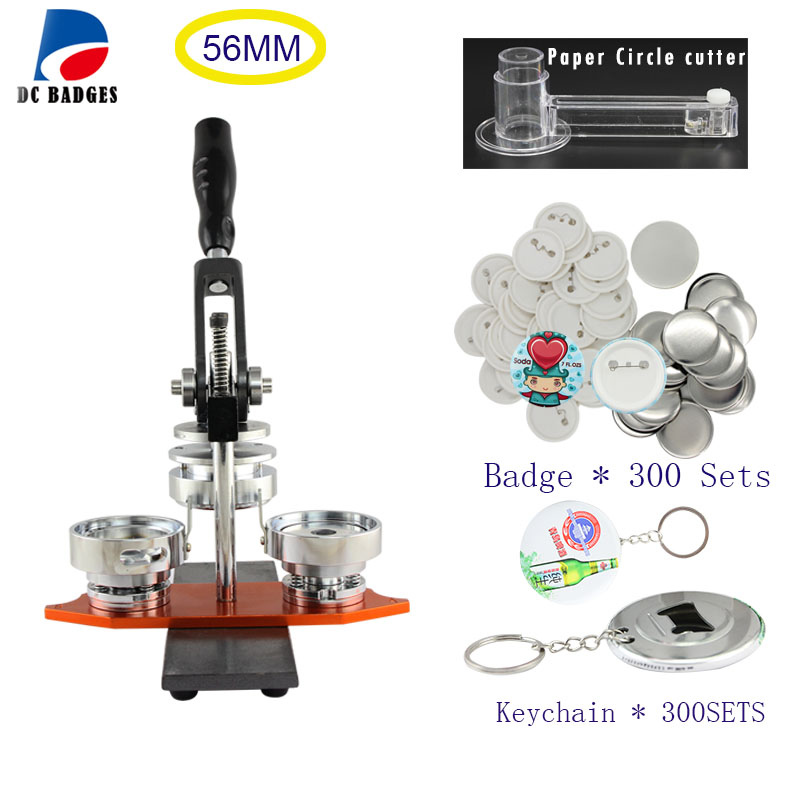 Free Shipping Metal Badge Making Machine 56MM +Circle Cutter+300 Sets Pinback Badge+300sets keychain material free shipping new pro 1 1 4 32mm badge button maker machine adjustable circle cutter 500 sets pinback button supplies