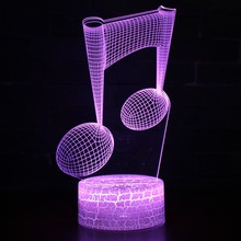 Color Changeable Musical Note LED Abajur 3D Illusion Visual Night Light Bedroom Decoration Light Novelty Table Desk Lamp Gift usb led table lamp firework line light desk lamp for bedroom novelty christmas gift abajur decorative childrens kids night light
