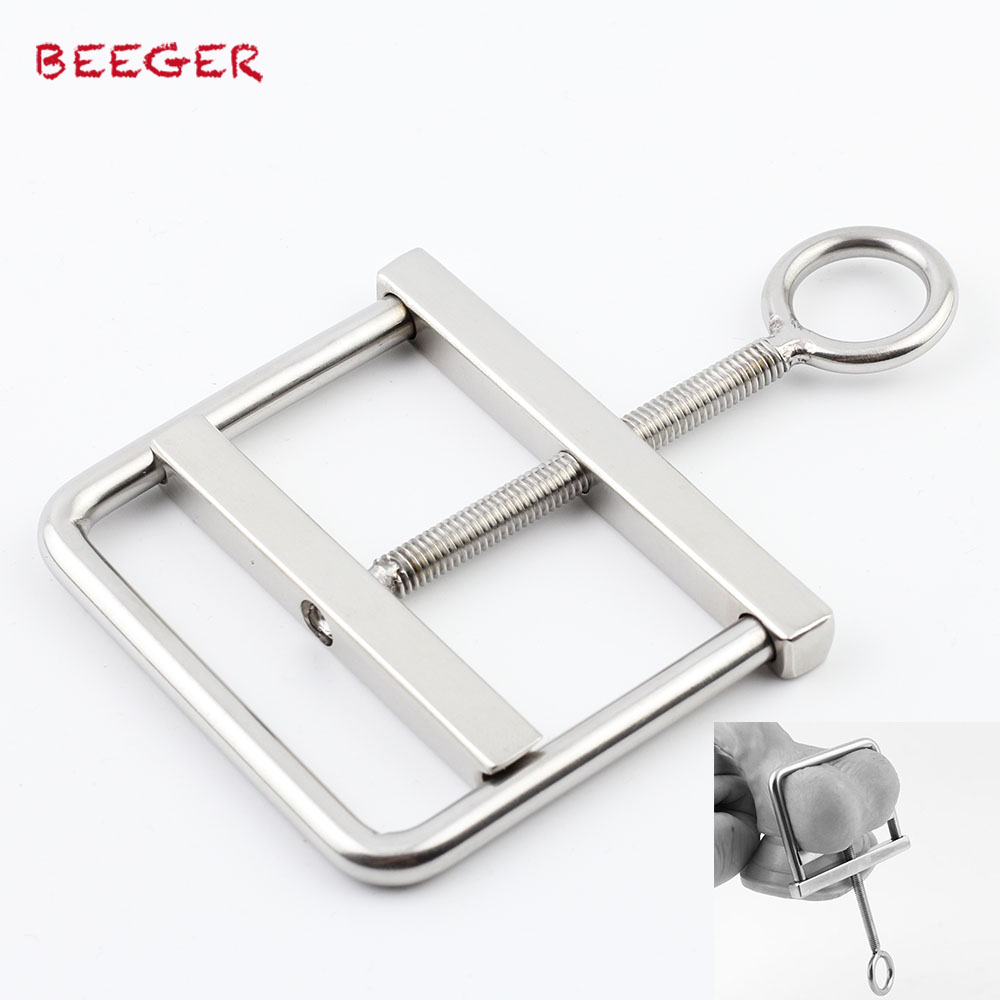 BEEGER Stainless Steel Locking Ball Crusher Cock & Testicle Crushing CBT Device for Men