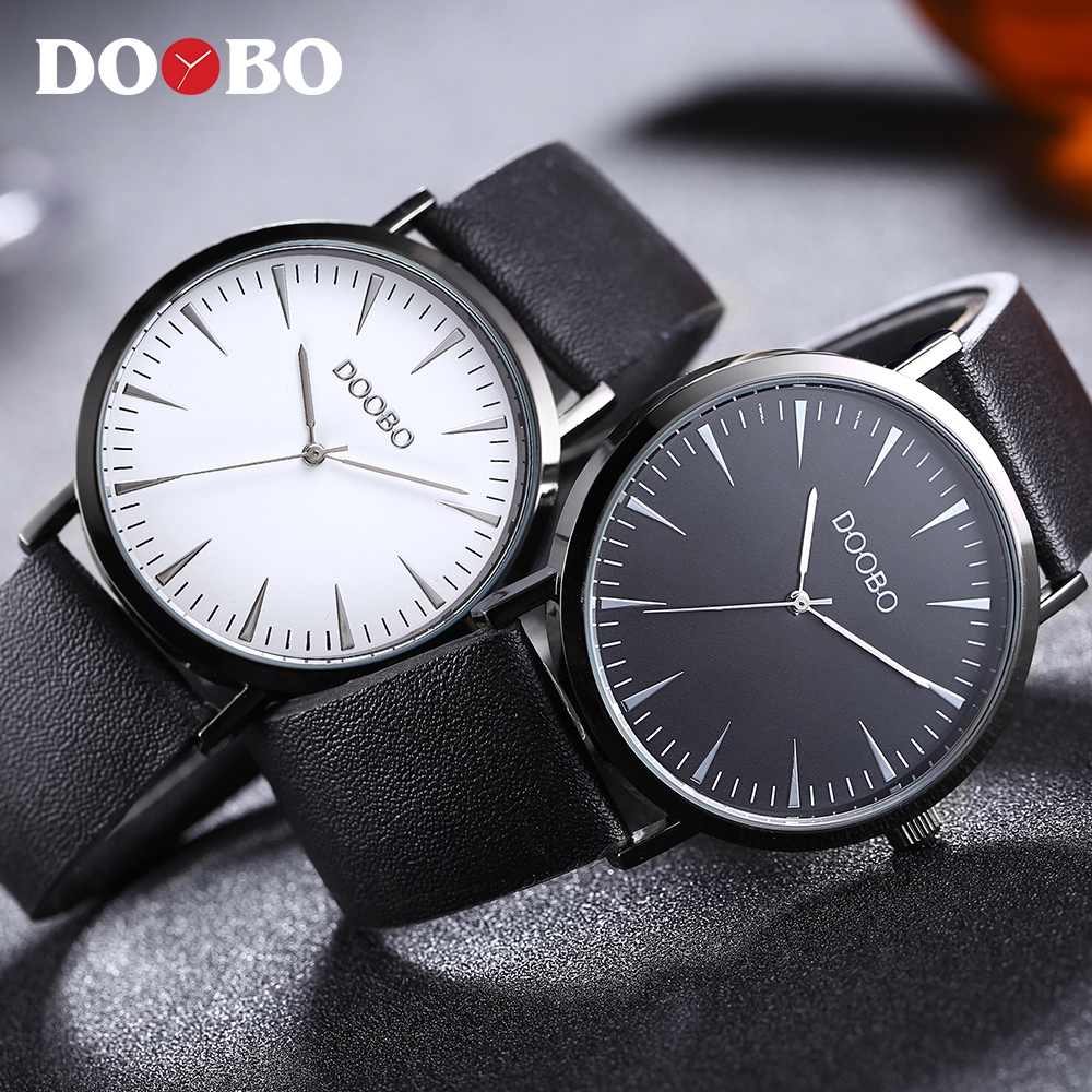2018 DOOBO top luxury brand leather strap fashion causal dress business quartz wristwatches creative gift watch for men women