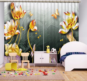 3d curtains blackout curtains Custom Flowers living room window curtains
