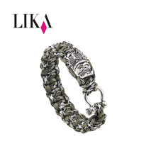 ФОТО lika u button crown and skull bracelet parachute chain first aid survival field camping outdoor multifunction men charm bracelet