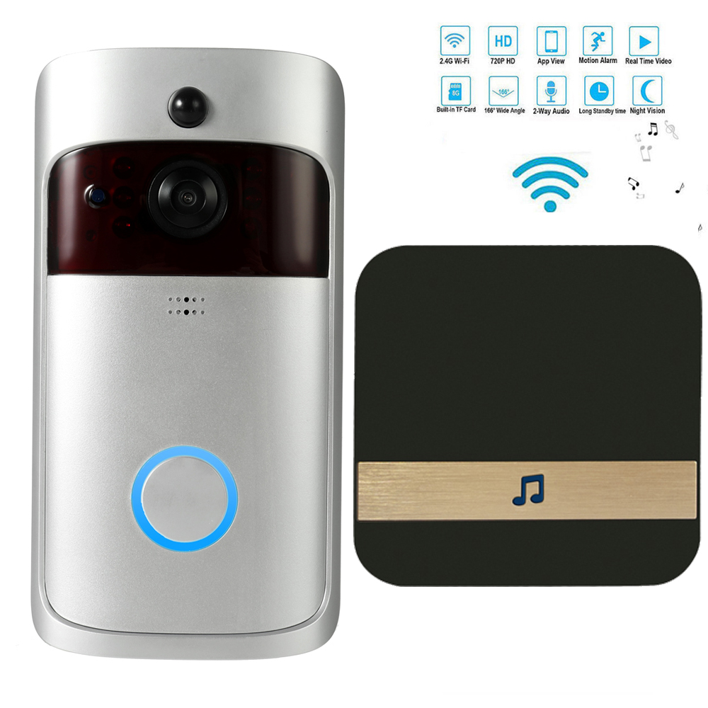 Wireless WiFi Security DoorBell Smart Video Door Phone with Plug in Chime Visual Recording Remote Home