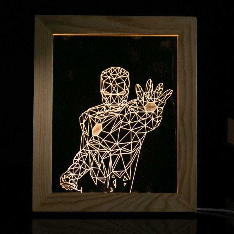 Novelty Night light For Children Gift Iron Man Eiffel <font><b>Tower</b></font> Skull Bear Flower Desk Table Lamp with USB Wood Frame Home Bedroom