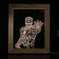 Novelty Night light For Children Gift Iron Man Eiffel Tower Skull Bear Flower Desk Table Lamp with USB Wood Frame Home Bedroom