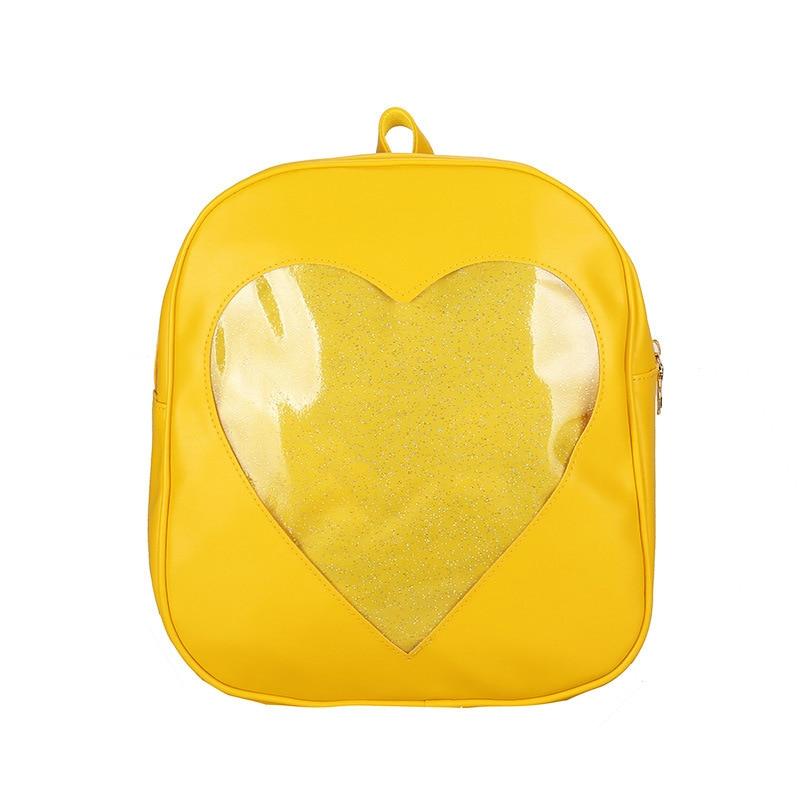 Pu Women Backpack Transparent Love Heart Shape Backpacks School Bag For Teenage Girls Kawaii Harajuku Schoolbags Female Mochila