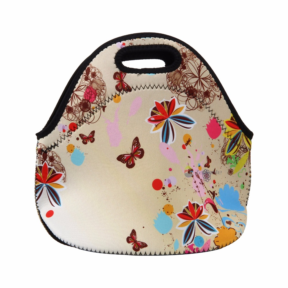 Cute flower&butterfly neoprene thermal insulated portable lunch bag women kid baby casual bags box tote waterproof free shipping