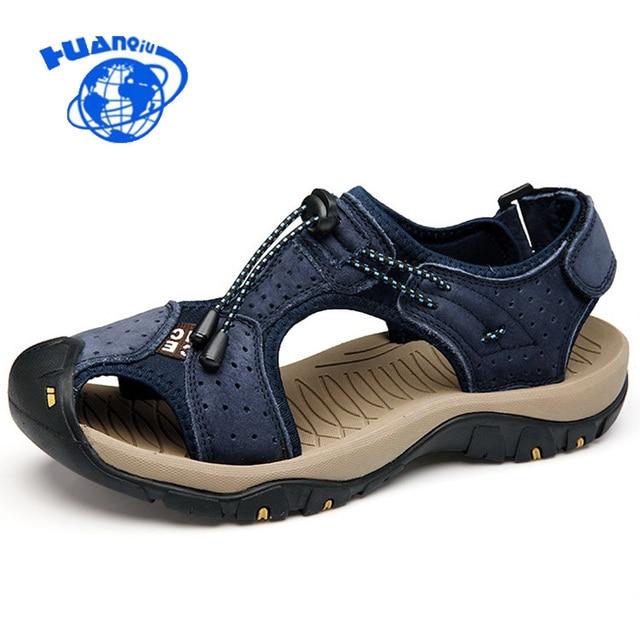 Genuine Leather Men Sandals 2017 New Casual Summer Men Shoes Breathable Non-slip Flats Shoes Men Plus size 38-46