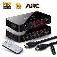 มินิUHD 4พัน4ออก1 HDMI 2.0สวิทช์4x1 HDMI SwitcherดูดเสียงกับARCและIRควบคุมสำหรับPS3 PS4แอปเปิ้ลทีวีHDTV