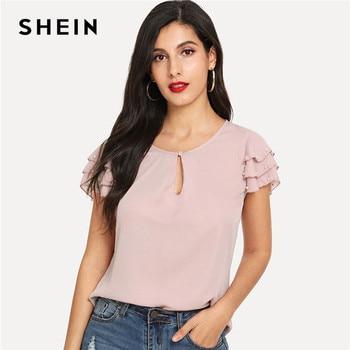 SHEIN Pink ไข่มุกลูกปัด Layered แขนลำลองฤดูร้อน 2019 ใหม่ Elegant Office Lady ตัดปุ่มรอบคอเสื้อ