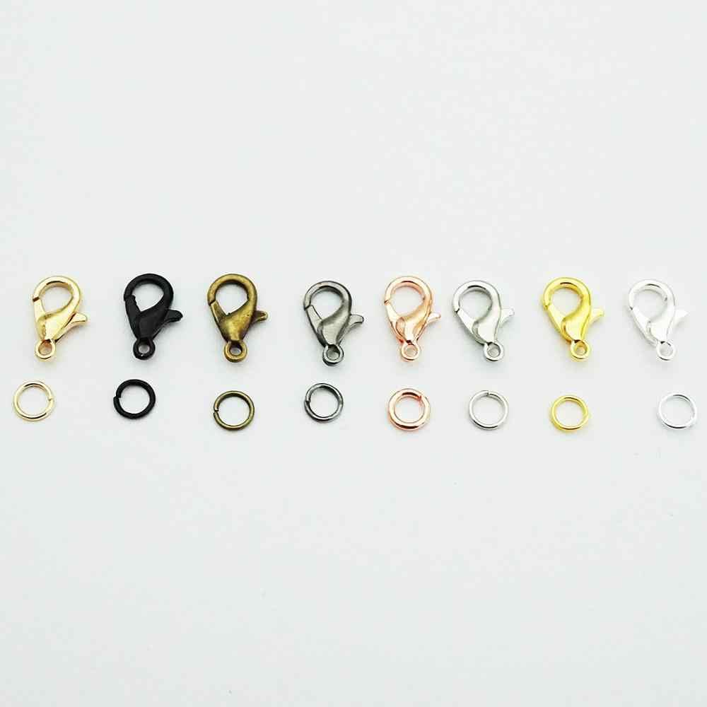 100 ชิ้น/ล็อตกุ้งก้ามกราม Clasp Hook และ 300Pcs วงกลมเปิดแหวนกระโดดเปิด loop สำหรับ DIY สร้อยคอสร้อยข้อมือเครื่องประดับทำ