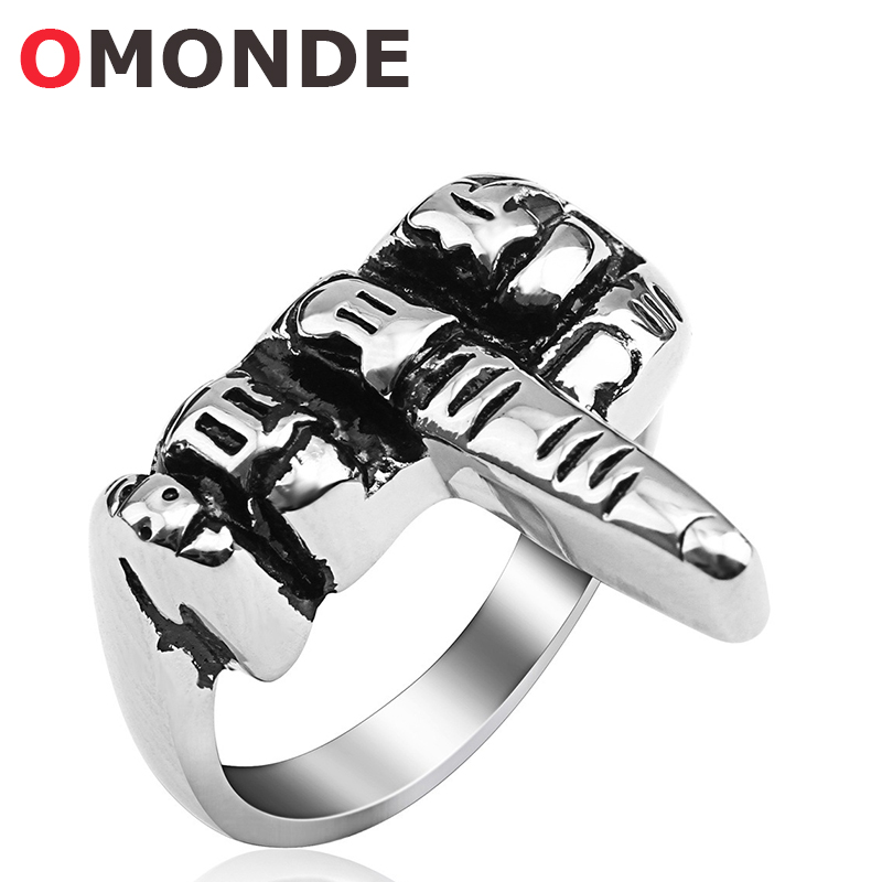 New Arrival Stainless Steel Prick Up Middle Finger Rings Men Titanium Erect Digitus Dedius Rock Jewelry for Fashion Male Biker