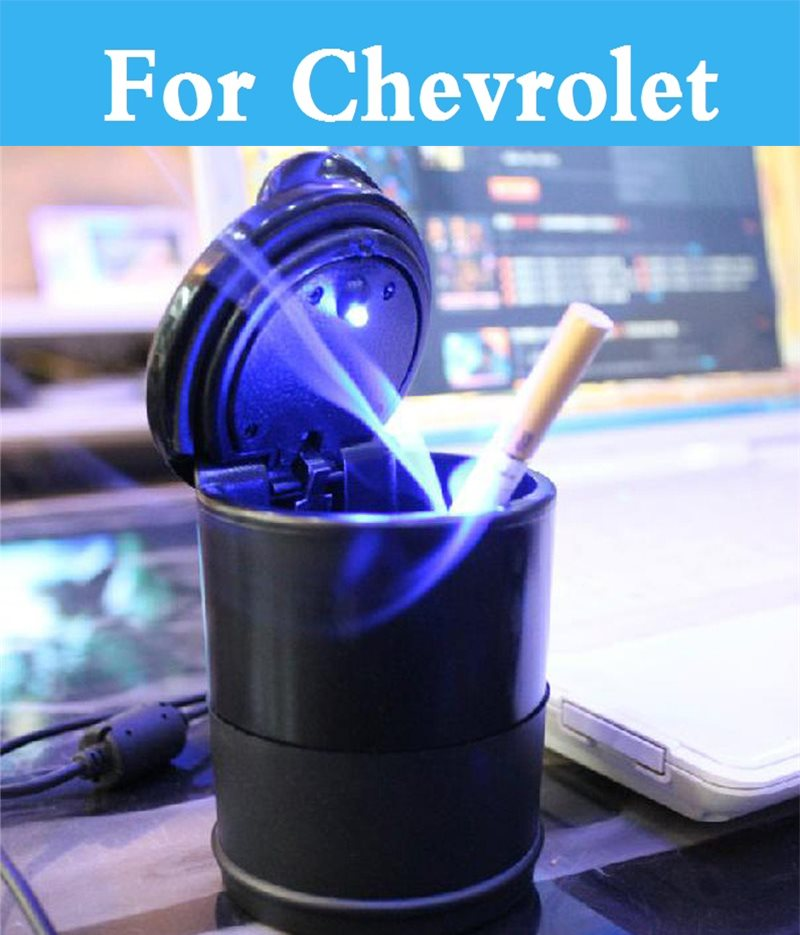 Led Light Auto Car Smokeless Stand Cylinder Cup Holder Cigarette Ashtray For Chevrolet Aveo Blazer Camaro Cavalier Car Interior