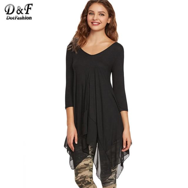 Dotfashion Mujeres Tops Moda Coreana de Mujeres Ropa Top Negro Negro Con Cuello En V de Contraste Gasa Asimétrica T-shirt