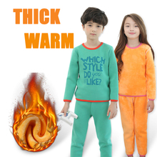 Zerlos winter thermal underwear set for boy girls long johns children's clothing plus