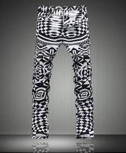 Hot sale  intage Geometric Painted Print Jeans Fashion Slim Men Pencil Pants