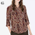 Lace Girl New Retro Women Paisley Cashew Print Blouse Turn-down Collar Long Sleeve OL Shirts Casual Slim Women Blouses Tops
