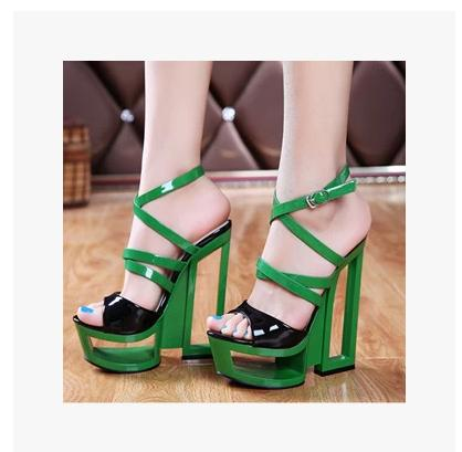 2016 summer women Candy Color wedge High heels peep toe sandals platform buckle Hollow out cross strap designer sandals shoes nayiduyun summer wedge high heels women casual platform pumps round toe breathable summer sneakers sandals school shoes chic