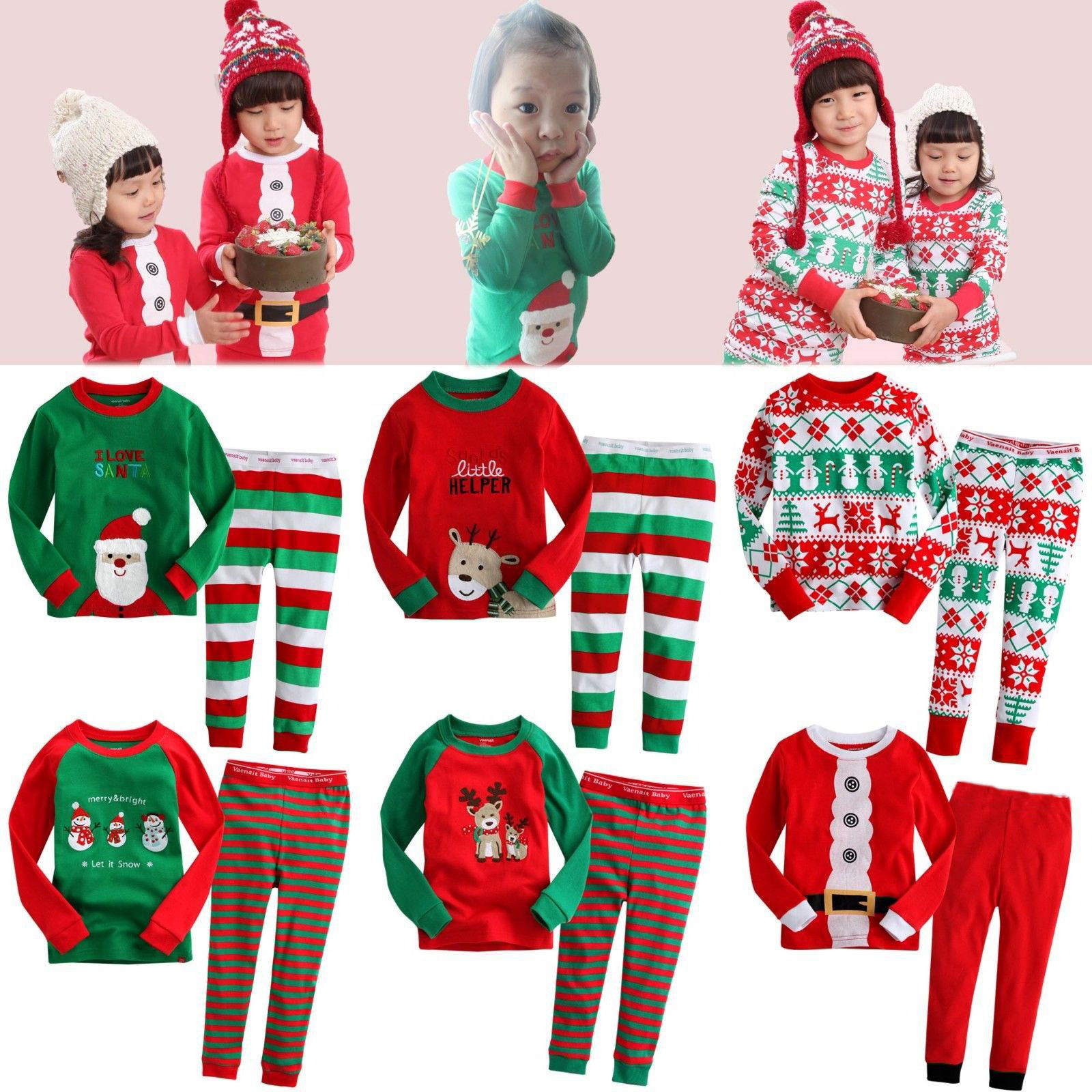 NEW cartoon kids pajama sets children sleepwear boys girls family ...