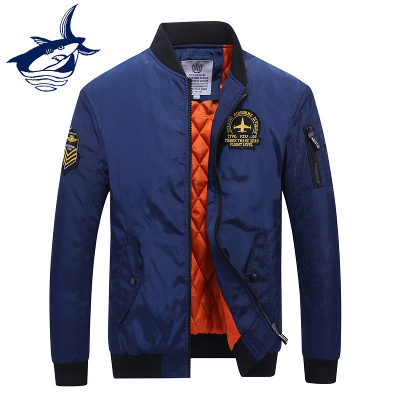 New Fashion Thicken Thermal Pilot Jacket Men Tace & Shark Brand Embroidery Bomber Jacket Tactical Military Parka Men Streetwear-in Jackets from Men's Clothing    1