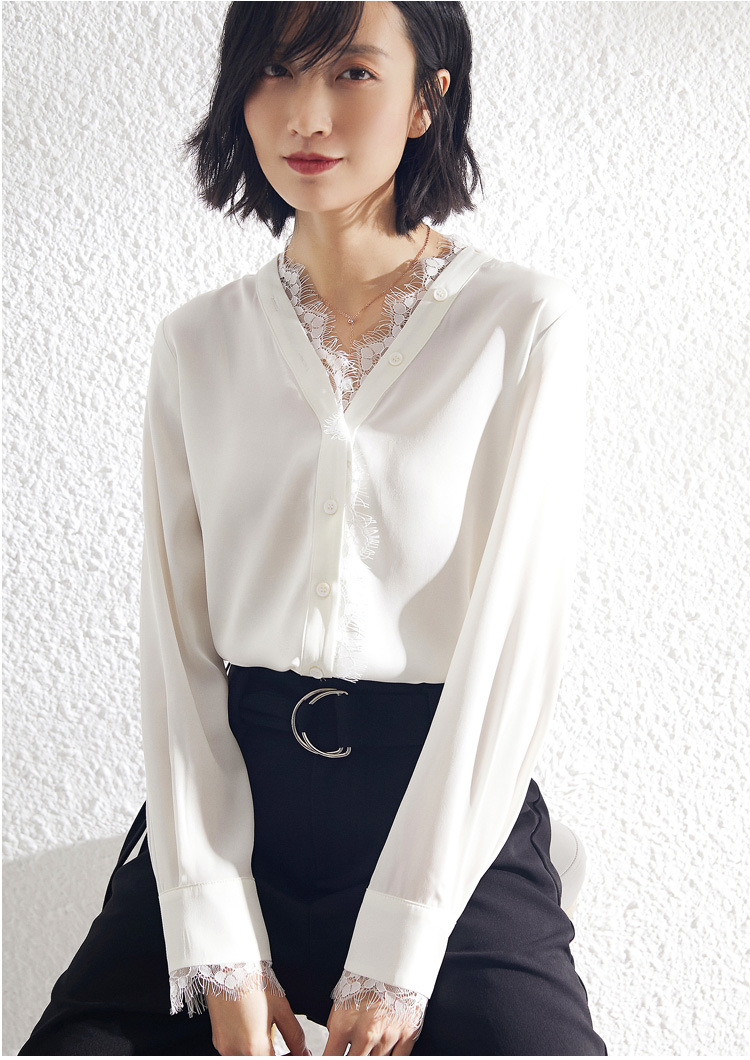 Heavy Silk Lace Blouse Women Long Sleeve Shirts White Office Ladies Tops Black V Neck Spring Korean Womens Clothing fashionnova in Blouses amp Shirts from Women 39 s Clothing