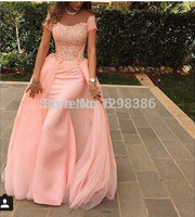 Detachable Skirt 2017 Evening Dresses Sheath Cap Sleeves Pink Chiffon Lace Elegant Long Evening Gown Prom