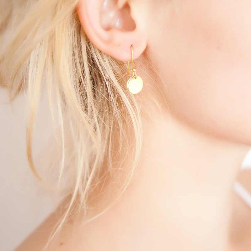 Delicate Disc Earrings Smooth Disk Drop Dangle Hook Women Girls Earrings Tiny Gold Silver Jewelry Gifts for Women Girls