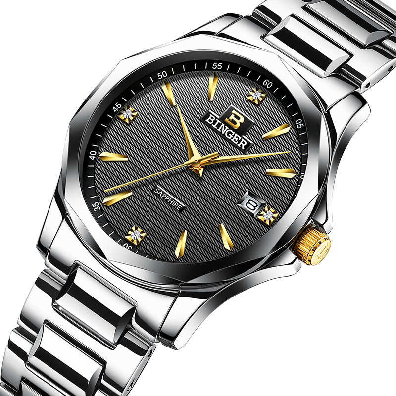 2017 BINGER Mens Watches Top Brand Luxury Quartz Watch Men full Stainless Steel Men Wrist Watch Waterproof reloj hombre 3057M-2 migeer fashion man stainless steel analog quartz wrist watch men sports watches reloj de hombre 2017 20 gift